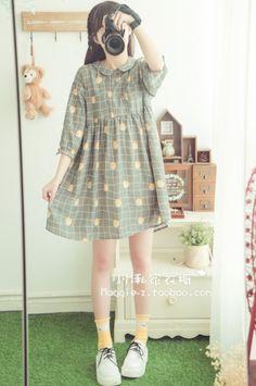 New Knitting Dress Women Beautiful Ideas Korean Fashion Dress, Korean Outfits, Japanese Fashion, Fashion Dresses, Kawaii Fashion, Lolita Fashion, Cute Fashion, Girl Fashion, Stylish Dresses