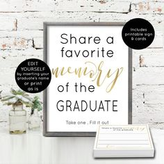 Memory of the Graduate Card Printable 2019 Editable | Etsy