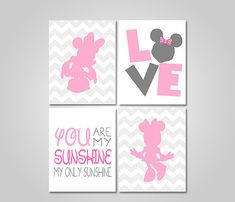 DISNEY MINNIE MOUSE NURSERY BEDROOM WALL ART - YOU ARE MY SUNSHINE - PINK GREY PRINTABLE WALL DECOR