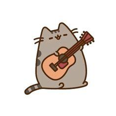 Pusheen and a guitar!