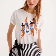 💦Sunbathers Tshirt for @jcrew available in stores and online💋#virginiemorgandxjcrew #summer #stripes #tee