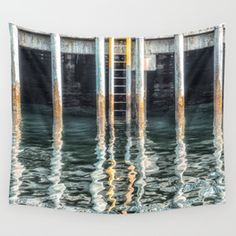 Pier Reflection Wall Tapestry
