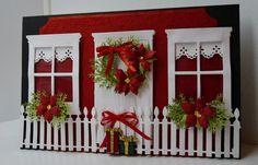 Christmas door and window with fence scene card - bjl