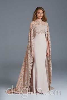 Gorgeous Paolo Sebastian 2016 Mermaid Wedding Dresses with Beaded Lace Cape Muslim Wedding Bridal Gowns Sweep Train Evening Dresses, Prom Dresses, Formal Dresses, Dresses With Capes, Muslim Wedding Dresses, Muslim Prom Dress, Modest Wedding Dresses With Sleeves, Beaded Dresses, Dresses To Wear To A Wedding