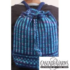Drawstring Backpack FREE knitting pattern by Cascade Yarns