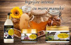 Mierea manuka este folosita din toate timpurile atat ca ingredient alimentar cat si cosmetic , de aceea azi te poti bucura de produsele de la New Anna cu miere manuka - lapte de corp cu miere manuka , masca de par cu miere manuka si crema de fata cu miere manuka. Masks, Shampoo, Anna, Honey, Cosmetics, Cream, Hair, Chowder, Beauty Products