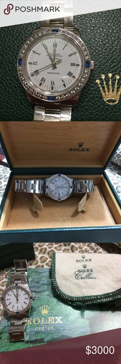 Rolex Air King 100 percent Authentic. 34mm 100 percent authentic Rolex air king. It has all original band and after market bezel. The watch is in really good shape no scratch on glass. Band is for small size wrist if you have bigger wrist you can buy extra links on eBay for really cheap. The watch comes with Rolex box,booklet,certificate and cleaning cloth. For more info please call me at 615-545-6830 if you have any question. Thank you Rolex Jewelry