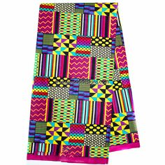 Faux Patchwork kente fabric per yard/  patchwork Kente print/ fuchsia Kente Cloth/ Prom dress fabric/ African Fabric / KF313B