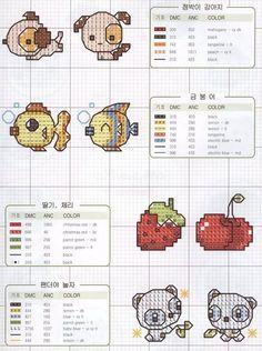 Puppy, Fish, Strawberry & Raccoon ..... Solo Patrones Punto Cruz | Aprender manualidades es facilisimo.com