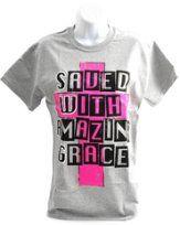 SWAG, Saved with Amazing Grace Shirt, Gray, Medium