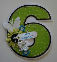 Decorated Numeral Shape Card by Donna Bronderslev.