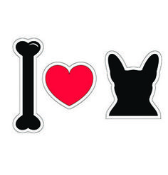 I love french bulldog with black shape dog vector