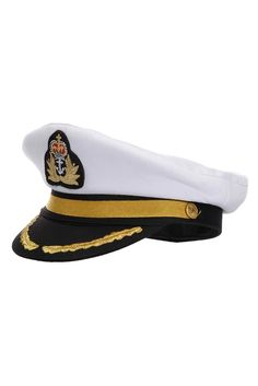 CAPTAIN HAT WHITE SATIN YACHT BOAT NAVY UNISEX SAILOR COSTUME WHITE CAP