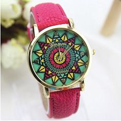 Damen Fashion Classic Leder Quarz Armbanduhr (Rose) - http://uhr.haus/wkae/damen-fashion-classic-leder-quarz-armbanduhr-4