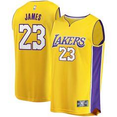 c00017c62e3 Youth Los Angeles Lakers LeBron James Fanatics Branded Gold 2017 18 Fast  Break Replica Jersey – Icon Edition