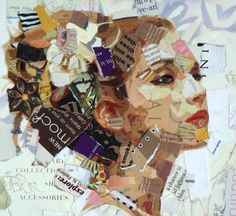 Portrait by Derek Gores collage art painting Collage Kunst, Collage Portrait, Paper Collage Art, Paper Art, Face Collage, Portraits, Art Collages, Collage Artists, Collage Collage