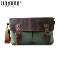 UNISOUL Messenger Bag man canvas leather Vintage men s bags 2016 Satchels  high quality Casual Briefcases Crossbody Bag-in Crossbody Bags from Luggage    Bags ... b3d78fffde1ce