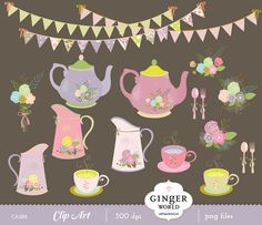 Rustic tea party, Lavender garden flowers, teapot, shabby chic, vase, menu recipe clipart