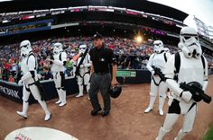 Star Wars Day: Umpires were escorted on the field by storm troopers.