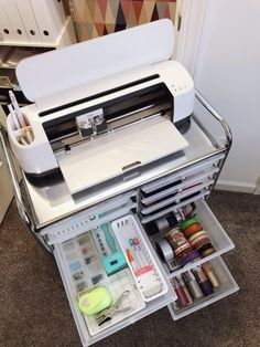 Organizing My Craft Closet With Cricut. Organizing My Craft Closet With Cricut - Lela Burris. How to organize a craft closet with a Cricut Maker, plus storage solutions for Cricut machines. Craft storage is dressed up with vinyl labels and wallpaper. Craft Room Storage, Craft Organization, Organizing Ideas For Office, Scrapbook Room Organization, Craft Room Closet, Scrapbook Rooms, Home Office Organization, Organize Craft Closet, Classroom Storage Ideas