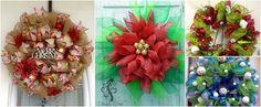 10 Adornos navideños con mallas para colgar en la puerta ~ Mimundomanual