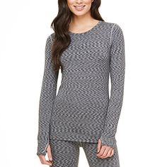 Cuddl Duds Ladies Small Warm Layers Long Sleeve Crew Top Blue Space Dye * Visit the image link more details.