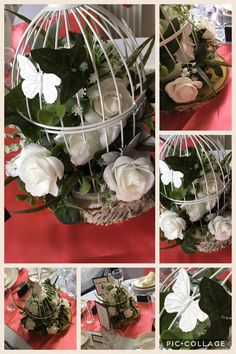 Wow your guests with some of our wedding bird cages. The most popular is our white antique bird cage beautifully decorated with butterflies and one of our floral arrangement inside. White foam roses with gypsophila, green grasses and more foliage create perfect entirety. Put on a wooden log and make fresh, inspired centerpieces.