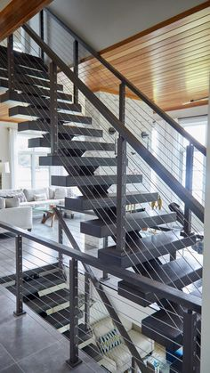 Modern Staircase Railing, Floating Staircase, Modern Stairs, Staircase Design, Staircases, Cable Stair Railing, Metal Stairs, Stairs Architecture, Modern Architecture