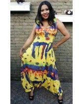 Jumpsuit Fatma geel met kleurtjes