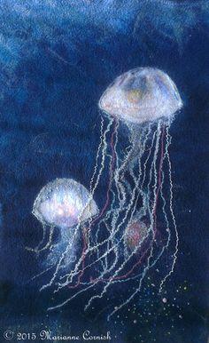 Jellyfish Pair Textile Art by Marianne Cornish