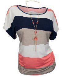 Casual Round Neck Striped Plus Size T-Shirt For Women (WATERMELON RED,5XL) | Sammydress.com Mobile