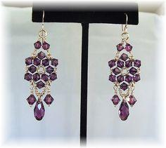 Pendientes de la lámpara de cristal amatista púrpura