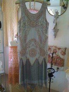 1920s original design flapper dress in pale by hulagypsyvintage