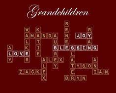 Personalized Modern Family Tree --31-40 names--(Scrabble or Crossword). $21.95, via Etsy.