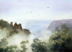 How to paint mist with watercolor. Painting the mist around The Three Sisters in the Blue Mountains. Creating atmospheric effects when watercolor painting.