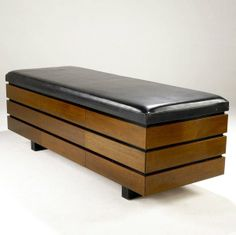 Billy Haines; Mahogany and Leather Bench with Integrated Drawers, 1950s.