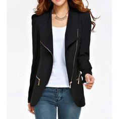Stylish Turn-Down Collar Solid Color Zip Embellished Long Sleeve Blazer