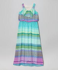 Loving this Speechless Aqua & Purple Boho Maxi Dress on #zulily! #zulilyfinds