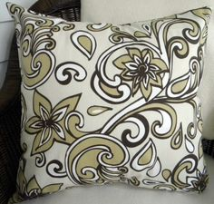 Decorative Throw Pillow Cover - Khaki and Chocolate Brown Floral