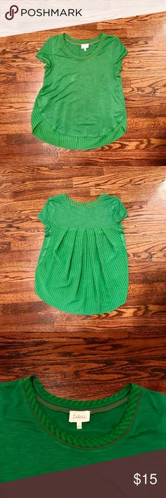 Anthropologie short sleeve green top In great condition and only worn once. Vibrant green top. Perfect for work or wear it with jeans and wedges for the perfect date night outfit! Anthropologie Tops Tees - Short Sleeve