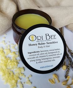 Our Sensitive Honey Body & Hair Balm is light as lotion and smooth as butter!