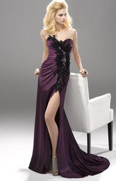 fabulous strapless sweetheart high slit satin feather prom dress pdc2013a1204120000a 49800 bridal