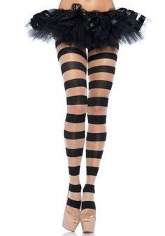 Un joli collant à rayures avec bandes opaques noires et bandes transparentes couleur chair. Pour accessoiriser un costume ou à porter avec légèreté sous une tenue sobre. Les gambettes ne passeront pas inaperçues !