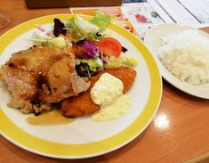 The #lunch of the day was #chicken and fried #fish at the family... lunch chicken fish restaurant japan
