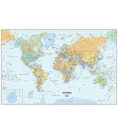 WallPOPs Wall Stickers 24 in. x 36 in. Dry Erase World Map Wall Decal Multi-color Travel Map Pins, Travel Maps, Wall Stickers, Wall Decals, Wall Art, World Map Wall Decal, Wall Appliques, Removable Wall Murals, Shops