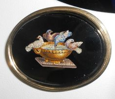 Antique c1860 Fine 14k Gold Doves of Pliny Micro Mosaic Brooch