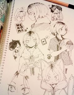 haikyuu // Kenma and Kuroo Anime Drawings Sketches, Anime Sketch, Manga Drawing, Manga Art, Cute Drawings, Haikyuu Fanart, Haikyuu Anime, Haikyuu Nekoma, Kenma Kozume