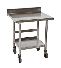 vintage industrial two tier stainless steel commercial kitchen prep table, from an old chicago public school lunchroom. #kitchen #industrial #stainlesssteel