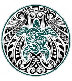 A flowing Polynesian Honu design of a sea turtle with geometric tribal Samoan pattern.
