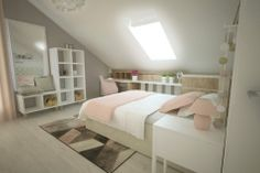 Attic Bedroom Designs, Bedroom Loft, New Room, Girl Room, Bunk Beds, Toddler Bed, New Homes, Interior Design, House